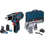 GSR 12V-15 akumulatorska bušilica/odvrtač + 2,0 i4,0 Ah akumulator + 39-delni set burgija i bitova u torbi